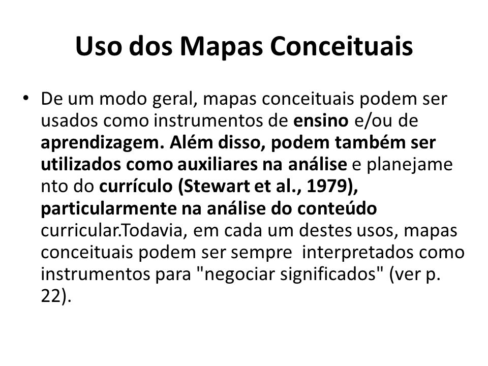 Uso dos Mapas Conceituais