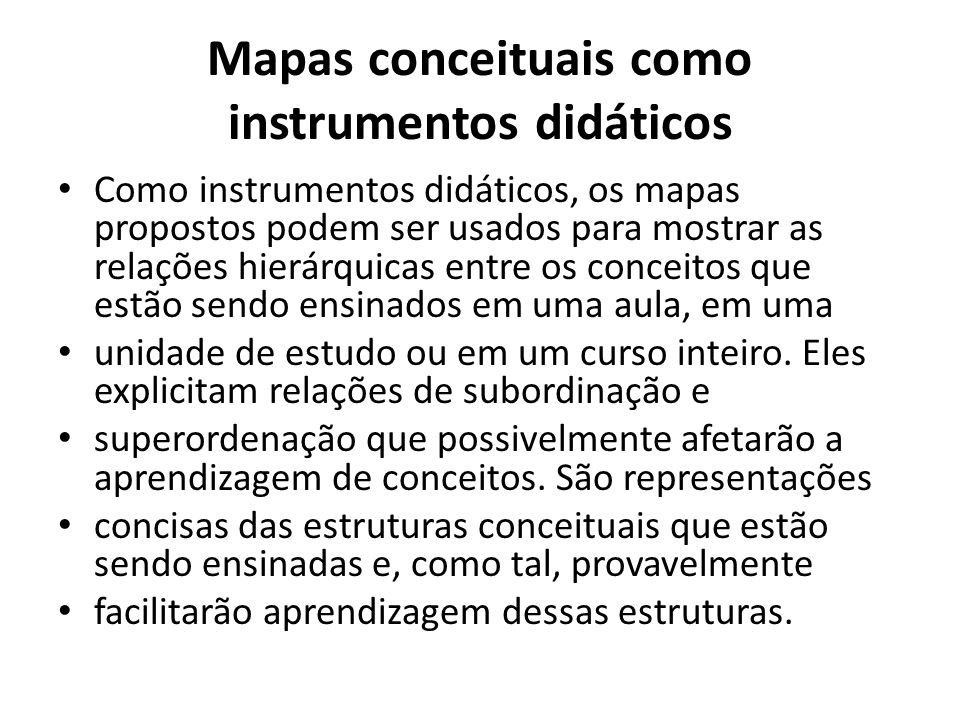Mapas conceituais como instrumentos didáticos