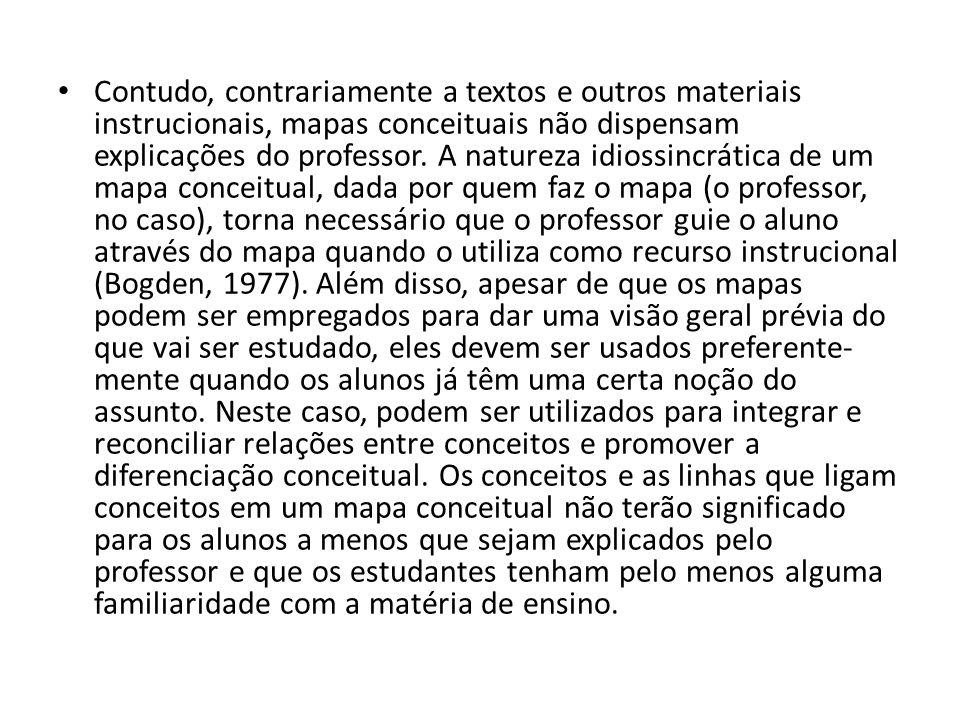 Contudo, contrariamente a textos e outros materiais instrucionais, mapas conceituais não dispensam explicações do professor.