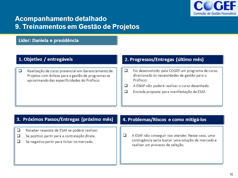 Acompanhamento detalhado 9. Treinamentos em Gestão de Projetos