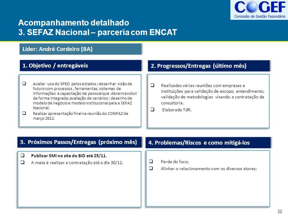 Acompanhamento detalhado 3. SEFAZ Nacional – parceria com ENCAT