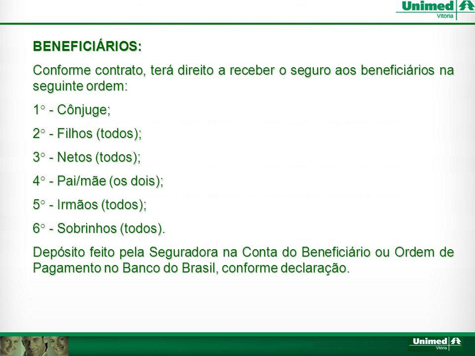 BENEFICIÁRIOS: Conforme contrato, terá direito a receber o seguro aos beneficiários na seguinte ordem: