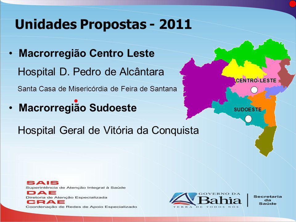 Unidades Propostas - 2011  Macrorregião Centro Leste