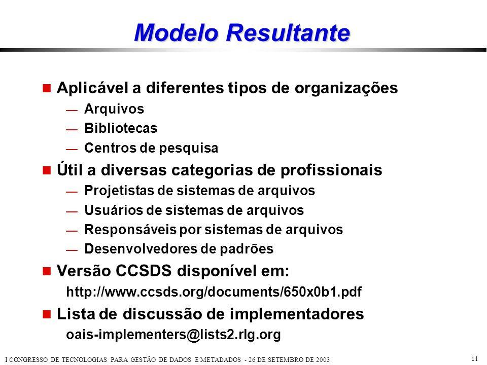 Modelo Resultante Aplicável a diferentes tipos de organizações