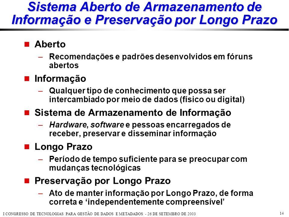 Sistema Aberto de Armazenamento de Informação e Preservação por Longo Prazo