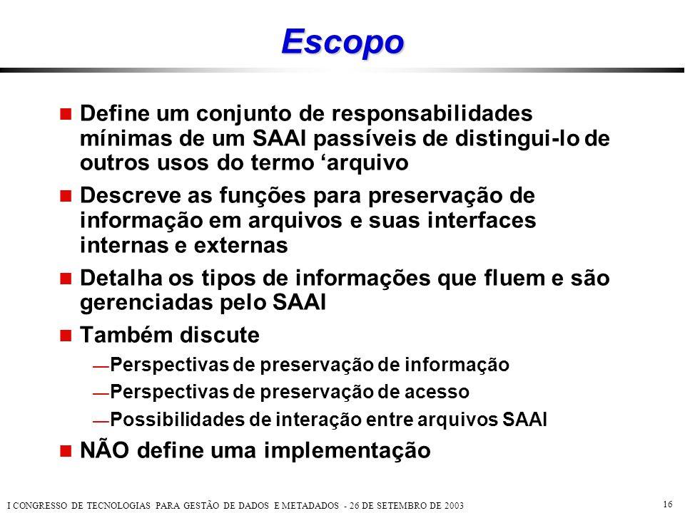 Escopo Define um conjunto de responsabilidades mínimas de um SAAI passíveis de distingui-lo de outros usos do termo 'arquivo.
