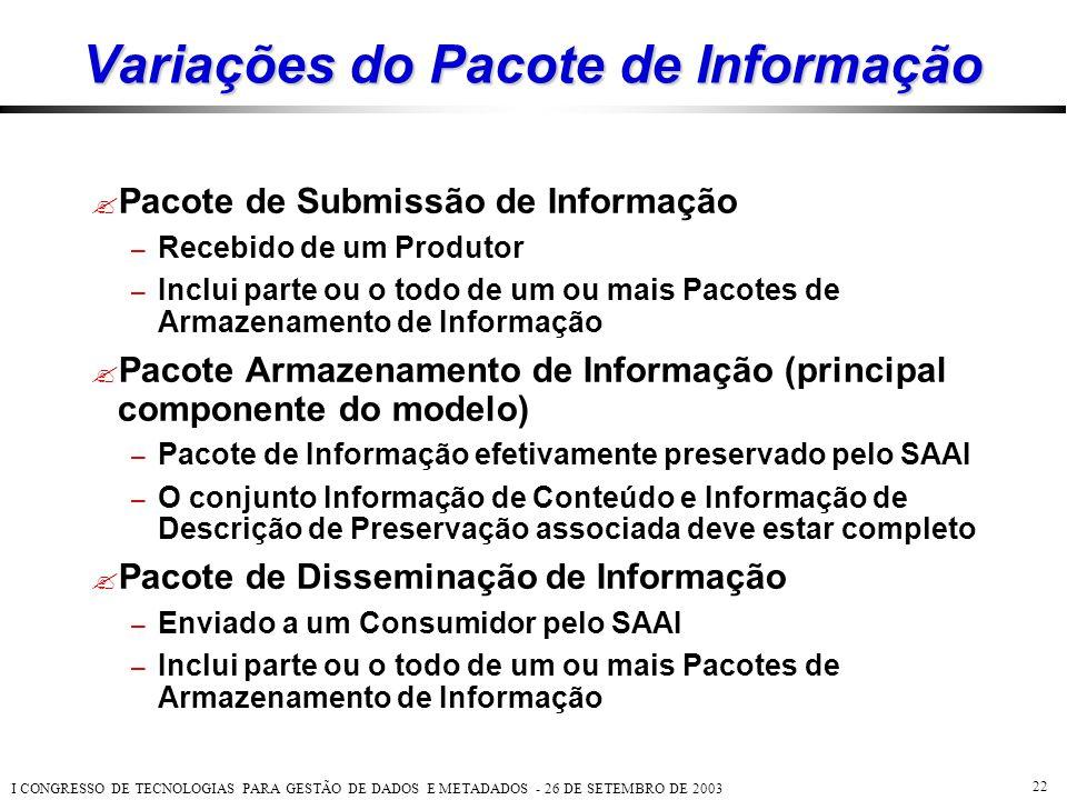 Variações do Pacote de Informação