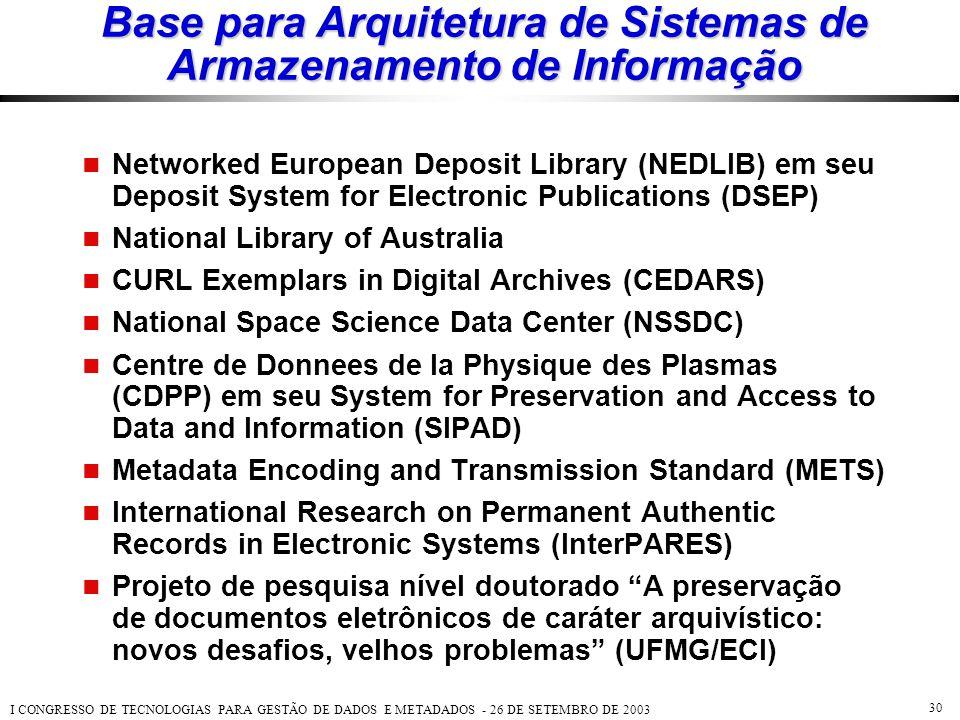 Base para Arquitetura de Sistemas de Armazenamento de Informação