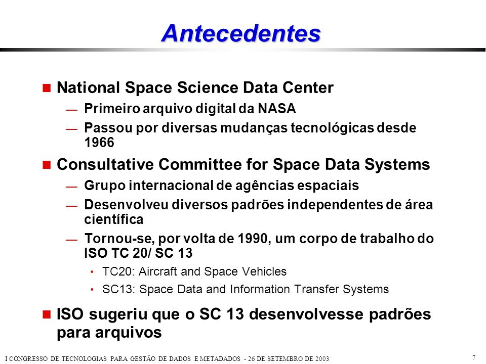 Antecedentes National Space Science Data Center