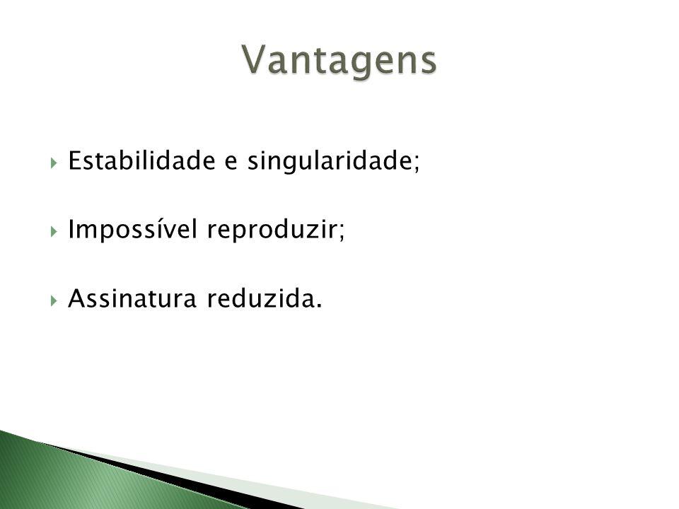 Vantagens Estabilidade e singularidade; Impossível reproduzir;