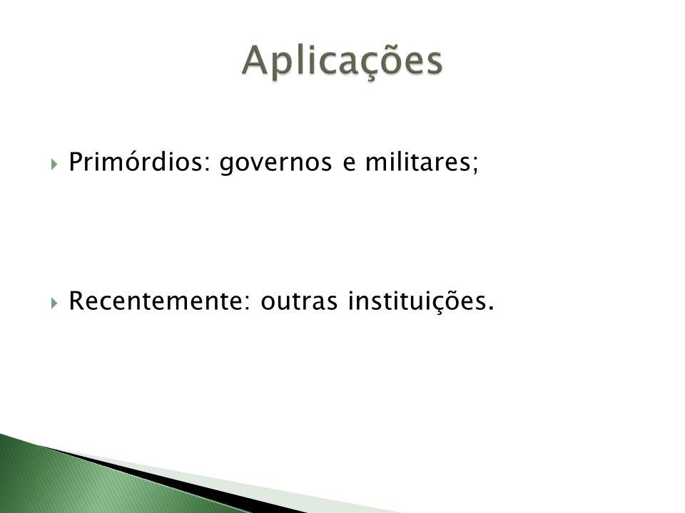 Aplicações Primórdios: governos e militares;
