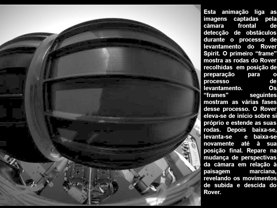 Esta animação liga as imagens captadas pela câmara frontal de detecção de obstáculos durante o processo de levantamento do Rover Spirit.