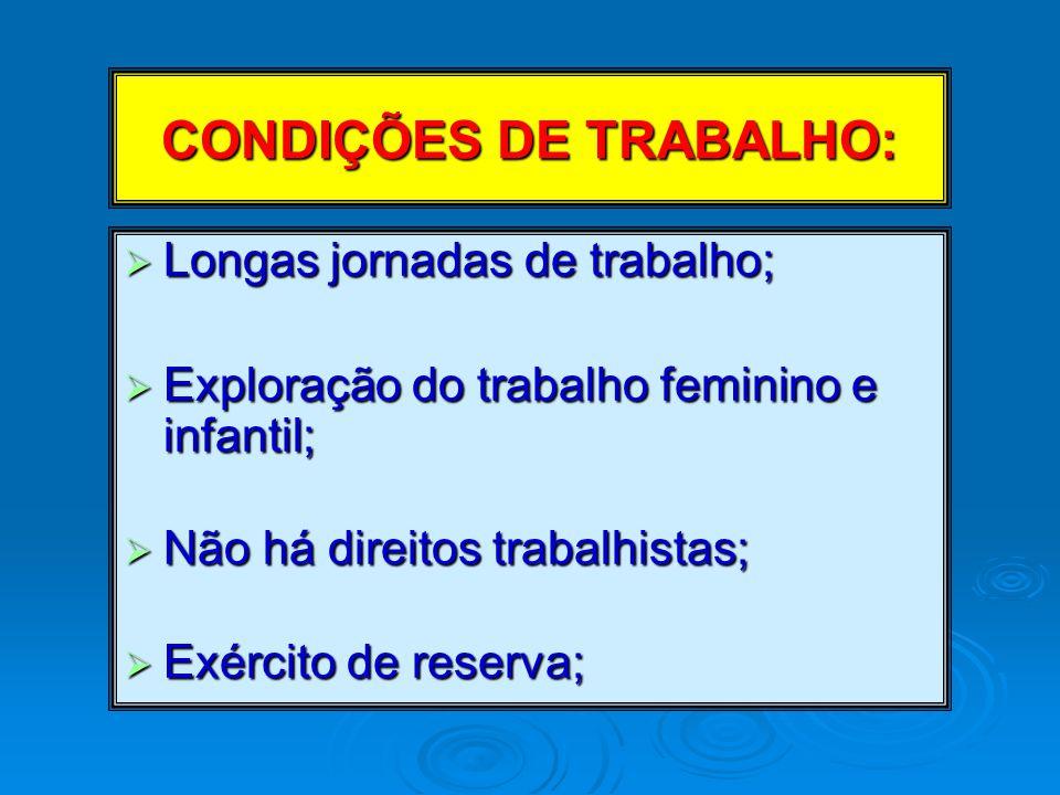 CONDIÇÕES DE TRABALHO: