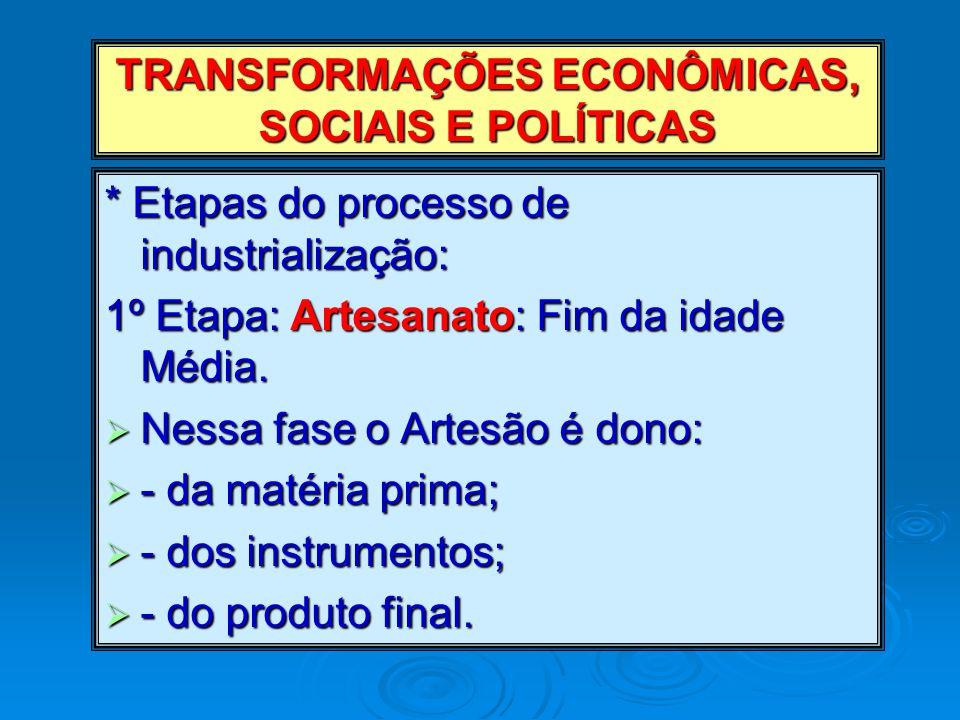 TRANSFORMAÇÕES ECONÔMICAS, SOCIAIS E POLÍTICAS
