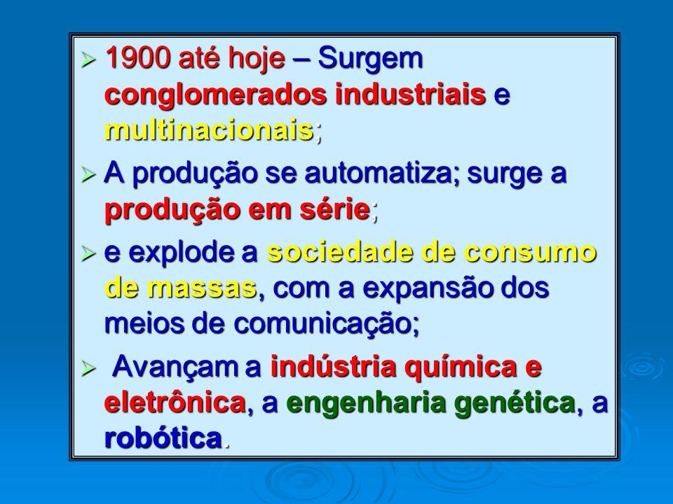 1900 até hoje – Surgem conglomerados industriais e multinacionais;