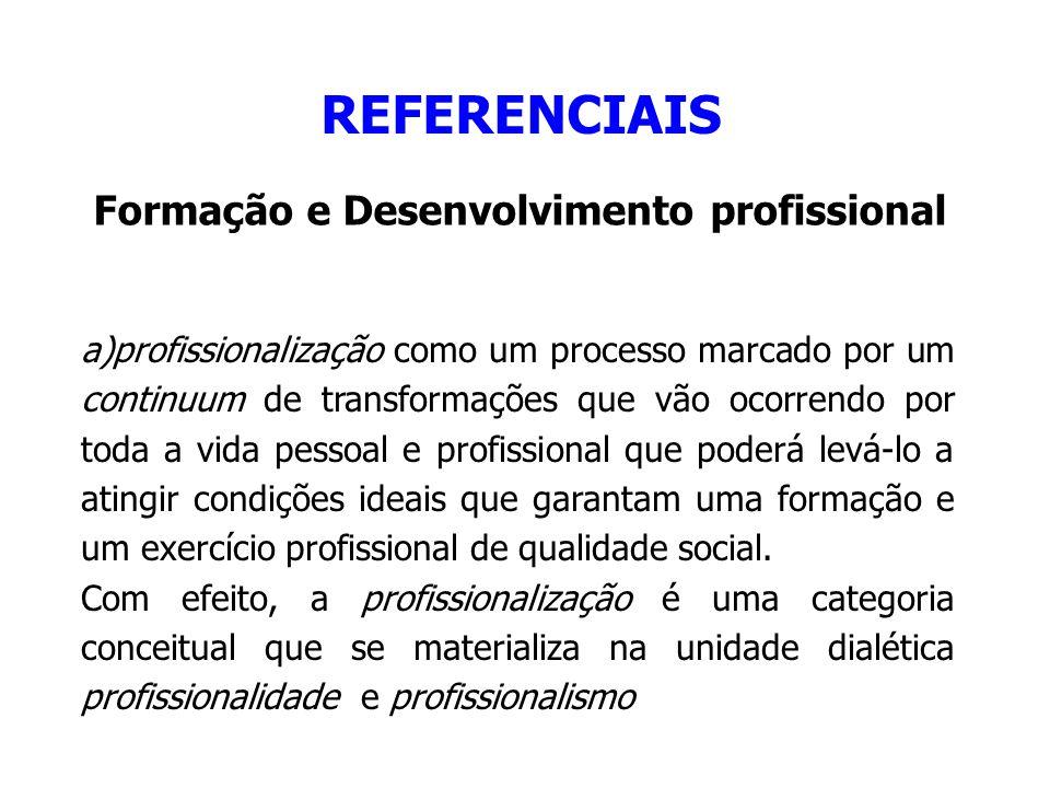 REFERENCIAIS Formação e Desenvolvimento profissional