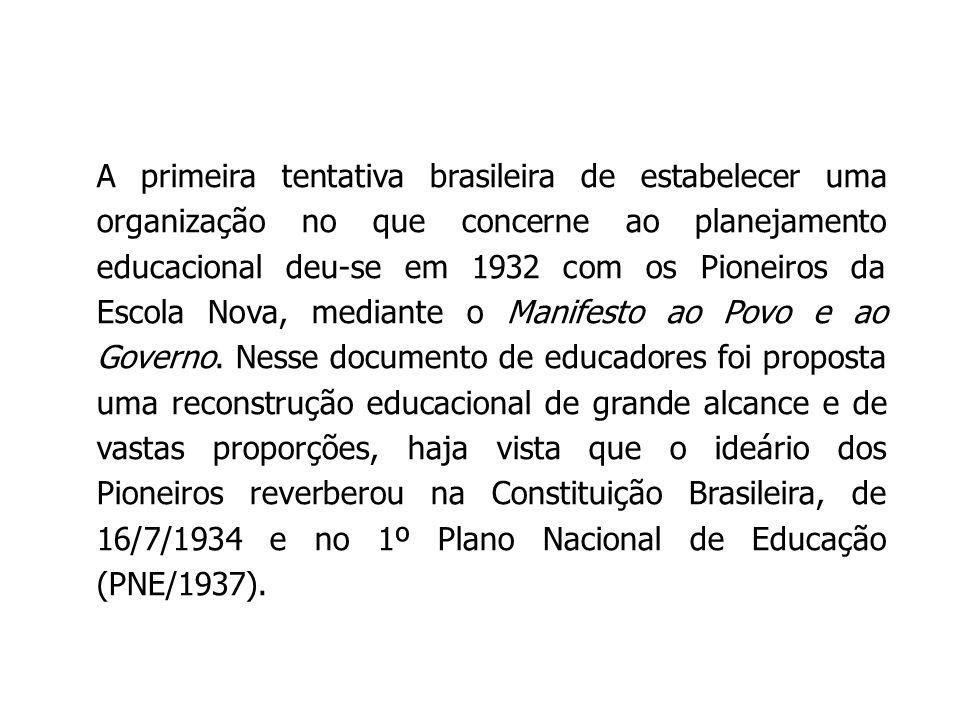 A primeira tentativa brasileira de estabelecer uma organização no que concerne ao planejamento educacional deu-se em 1932 com os Pioneiros da Escola Nova, mediante o Manifesto ao Povo e ao Governo.