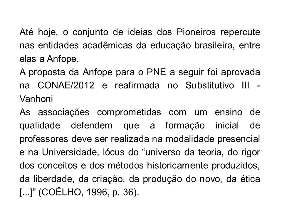 Até hoje, o conjunto de ideias dos Pioneiros repercute nas entidades acadêmicas da educação brasileira, entre elas a Anfope.