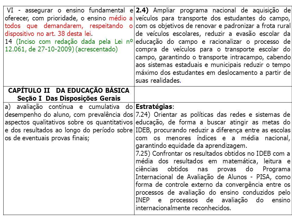 CAPÍTULO II DA EDUCAÇÃO BÁSICA Seção I Das Disposições Gerais