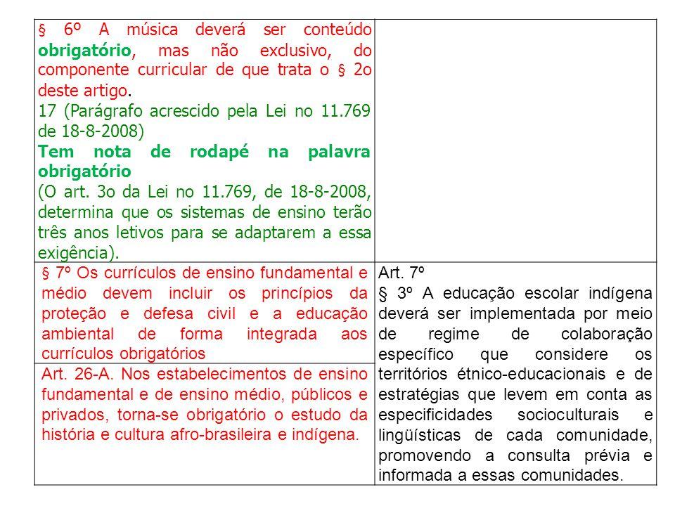 § 6º A música deverá ser conteúdo obrigatório, mas não exclusivo, do componente curricular de que trata o § 2o deste artigo.