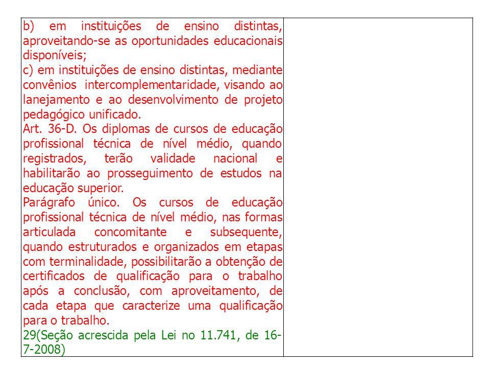 b) em instituições de ensino distintas, aproveitando-se as oportunidades educacionais disponíveis;