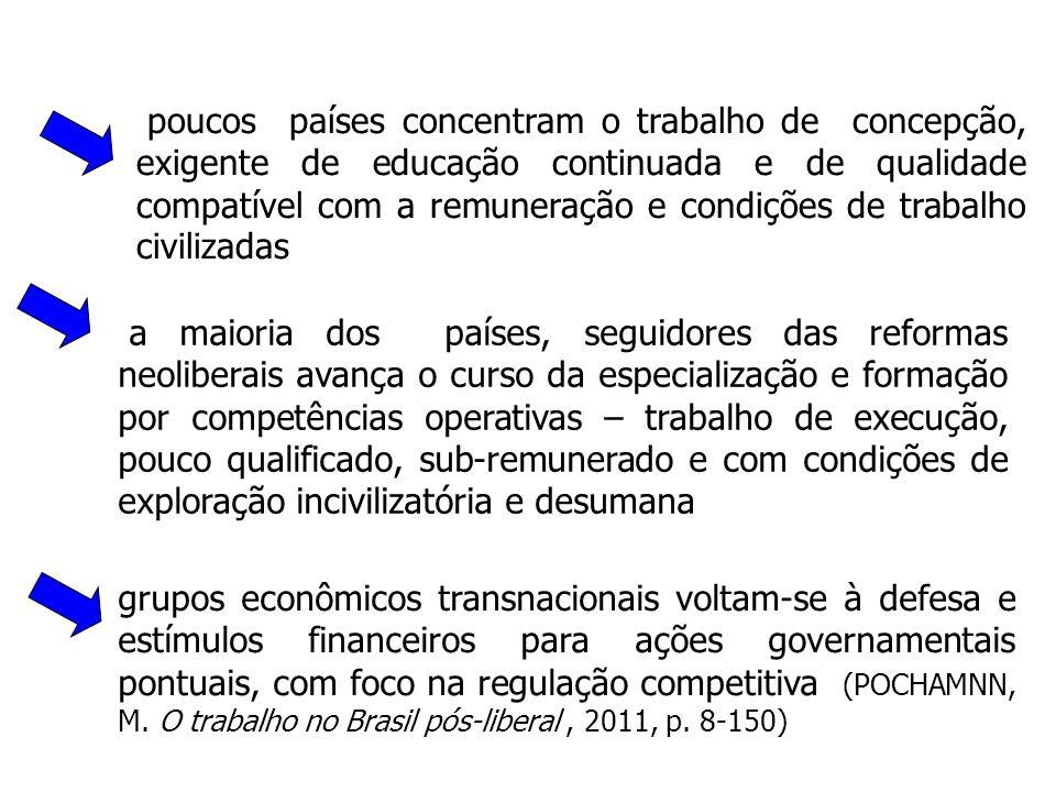 poucos países concentram o trabalho de concepção, exigente de educação continuada e de qualidade compatível com a remuneração e condições de trabalho civilizadas