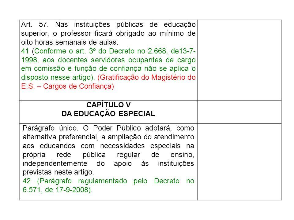 Art. 57. Nas instituições públicas de educação superior, o professor ficará obrigado ao mínimo de oito horas semanais de aulas.