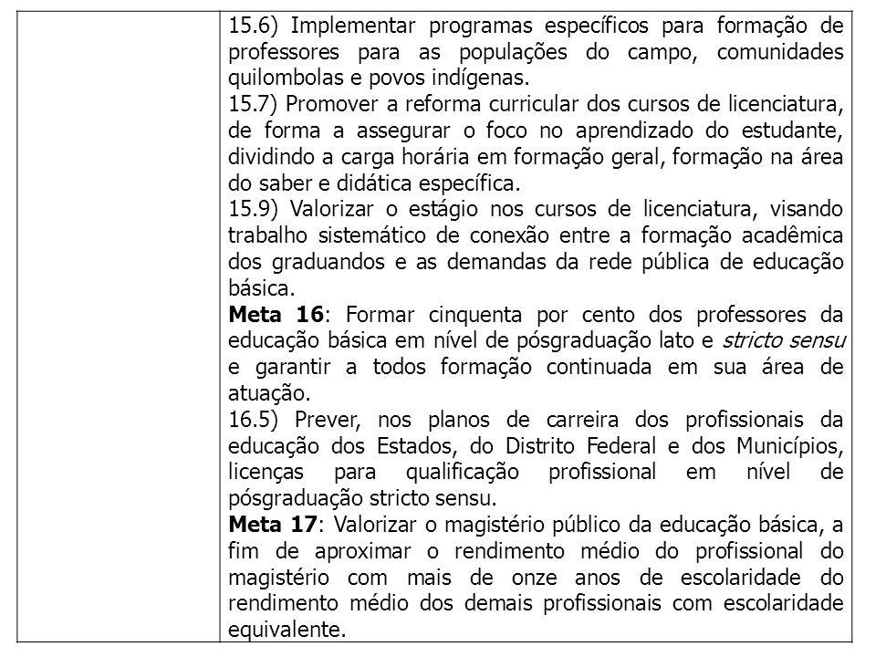 15.6) Implementar programas específicos para formação de professores para as populações do campo, comunidades quilombolas e povos indígenas.