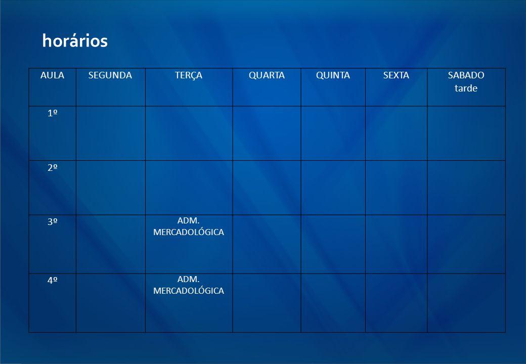 horários AULA SEGUNDA TERÇA QUARTA QUINTA SEXTA SABADO tarde 1º 2º 3º