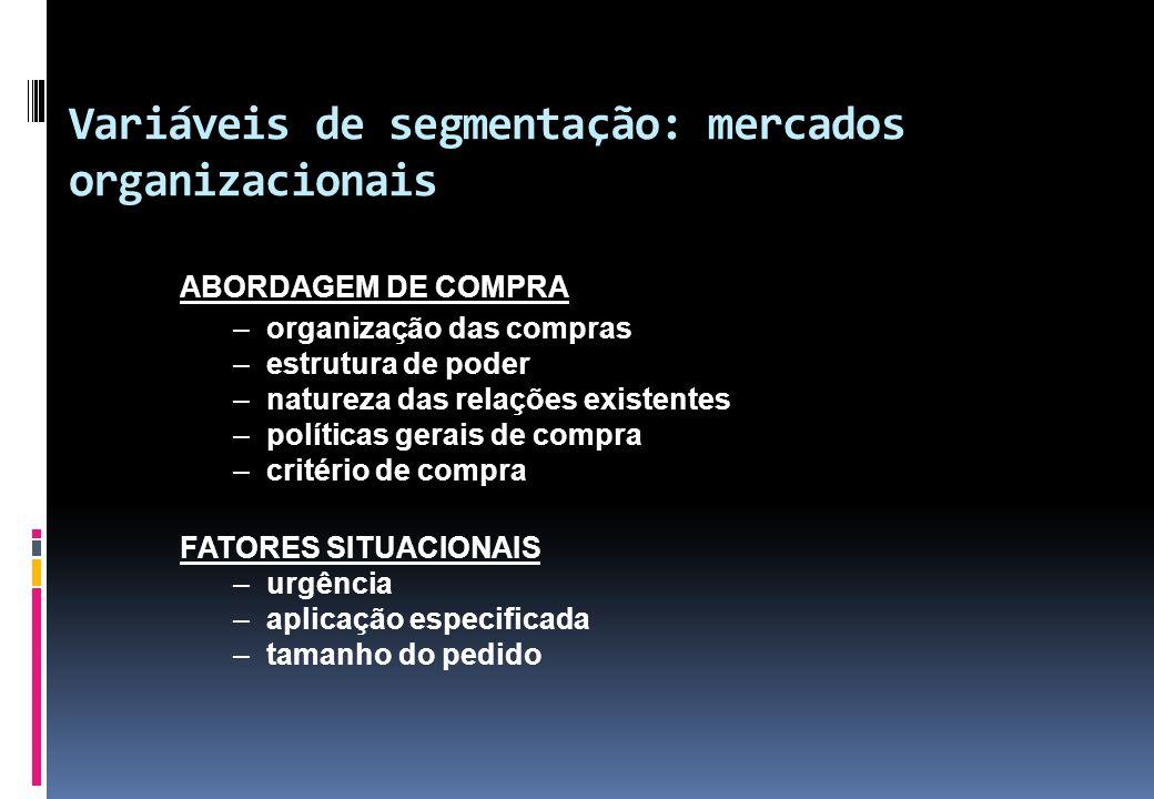 Variáveis de segmentação: mercados organizacionais
