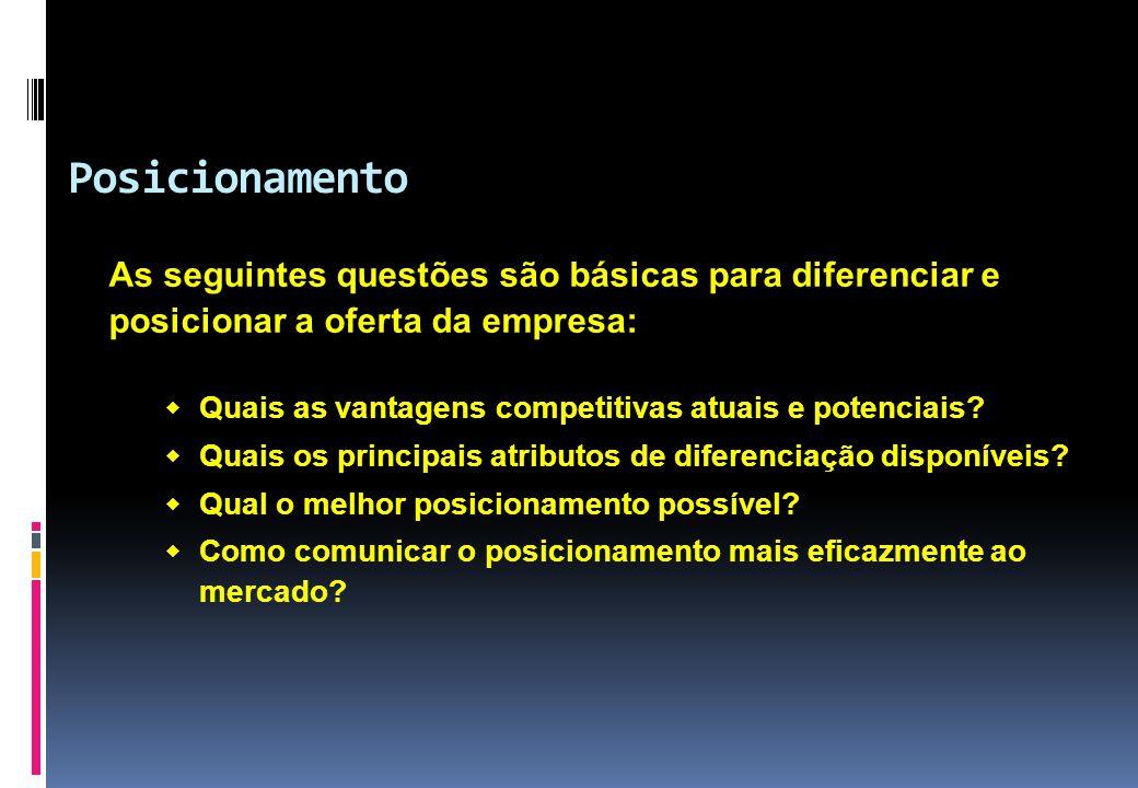 Posicionamento As seguintes questões são básicas para diferenciar e posicionar a oferta da empresa: