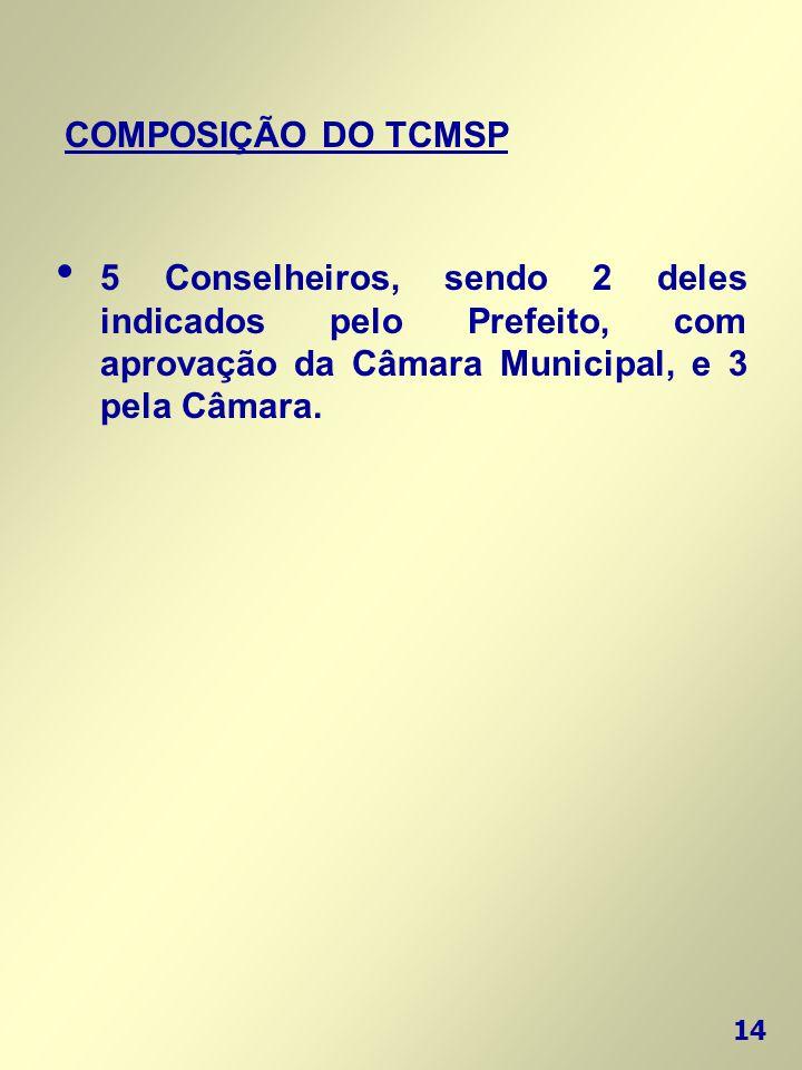 COMPOSIÇÃO DO TCMSP 5 Conselheiros, sendo 2 deles indicados pelo Prefeito, com aprovação da Câmara Municipal, e 3 pela Câmara.