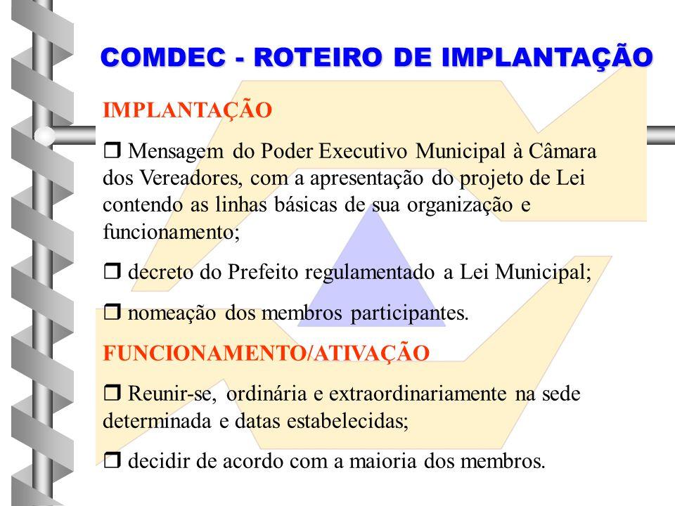COMDEC - ROTEIRO DE IMPLANTAÇÃO
