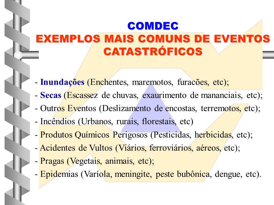 EXEMPLOS MAIS COMUNS DE EVENTOS CATASTRÓFICOS