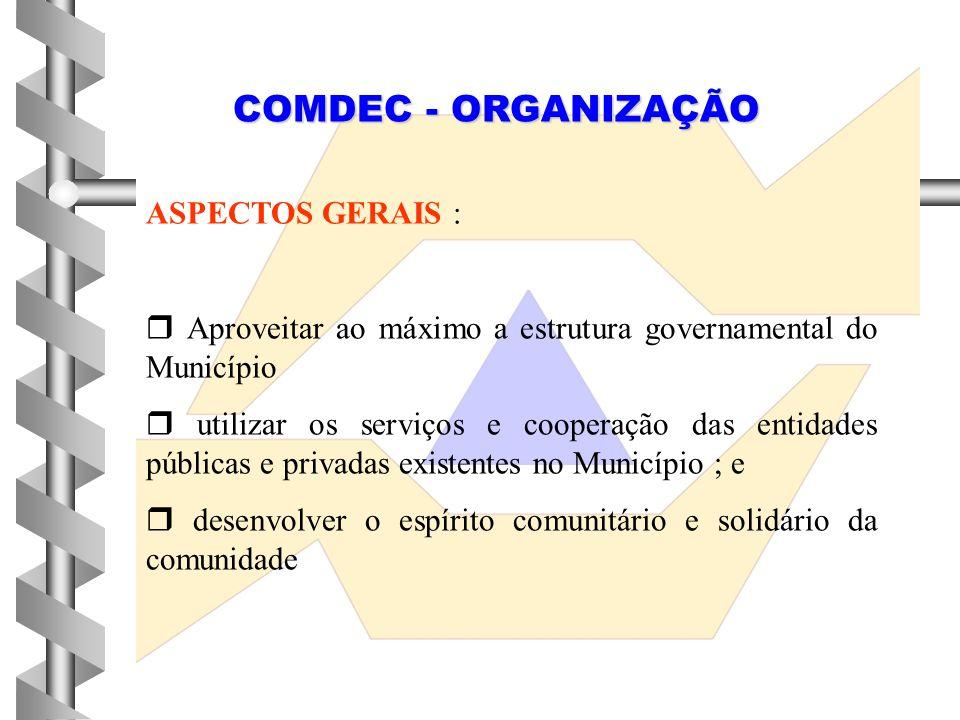 COMDEC - ORGANIZAÇÃO ASPECTOS GERAIS :