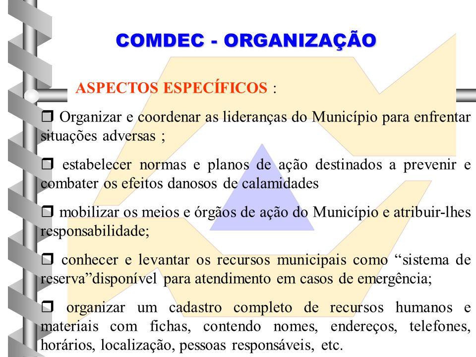 COMDEC - ORGANIZAÇÃO ASPECTOS ESPECÍFICOS :
