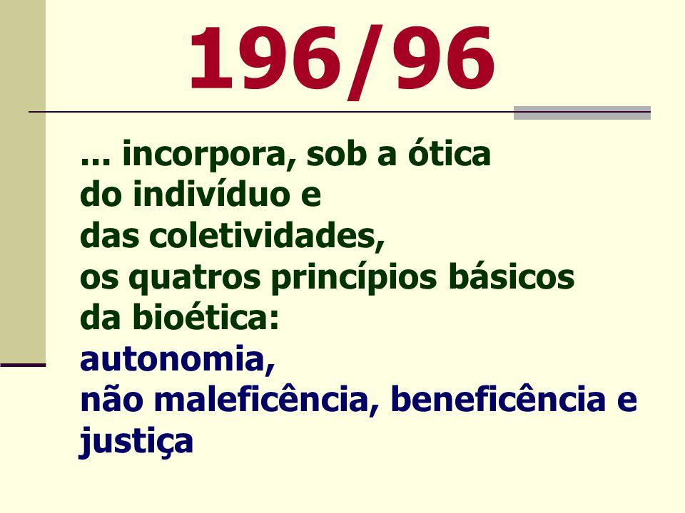 196/96 ... incorpora, sob a ótica do indivíduo e das coletividades,
