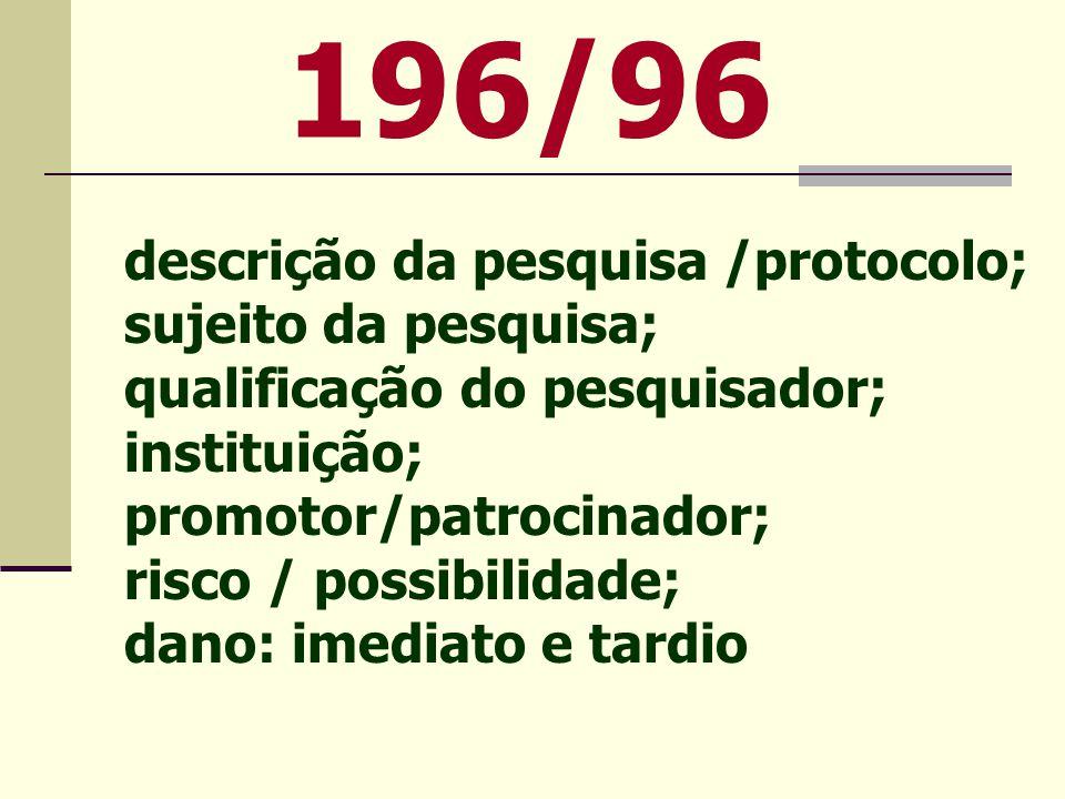 196/96 descrição da pesquisa /protocolo; sujeito da pesquisa;