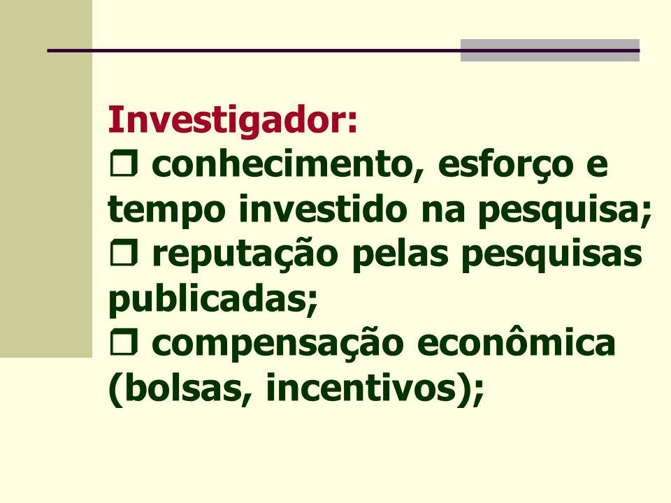 Investigador:  conhecimento, esforço e tempo investido na pesquisa;  reputação pelas pesquisas publicadas;  compensação econômica (bolsas, incentivos);