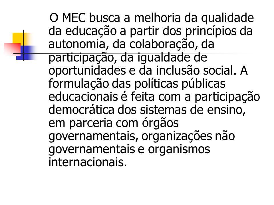 O MEC busca a melhoria da qualidade da educação a partir dos princípios da autonomia, da colaboração, da participação, da igualdade de oportunidades e da inclusão social.