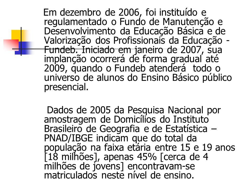 Em dezembro de 2006, foi instituído e regulamentado o Fundo de Manutenção e Desenvolvimento da Educação Básica e de Valorização dos Profissionais da Educação - Fundeb. Iniciado em janeiro de 2007, sua implanção ocorrerá de forma gradual até 2009, quando o Fundeb atenderá todo o universo de alunos do Ensino Básico público presencial.