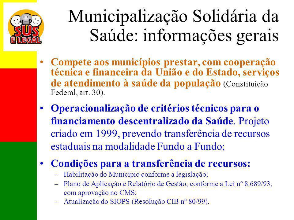 Municipalização Solidária da Saúde: informações gerais
