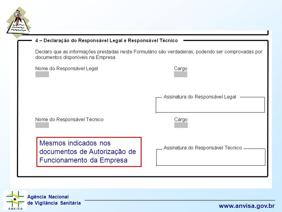 Mesmos indicados nos documentos de Autorização de Funcionamento da Empresa