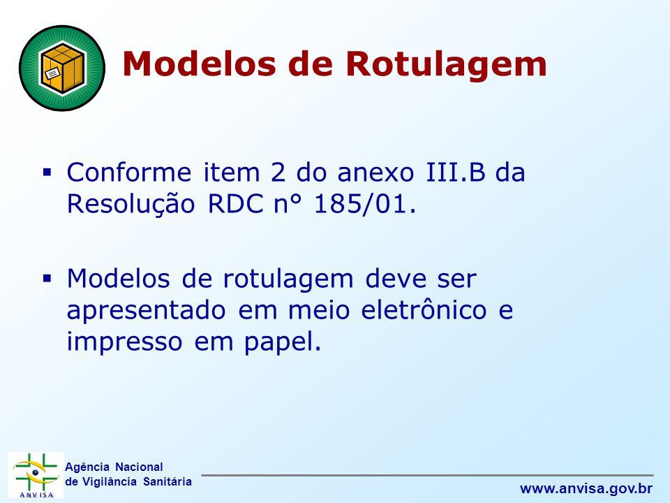 Modelos de Rotulagem Conforme item 2 do anexo III.B da Resolução RDC n° 185/01.