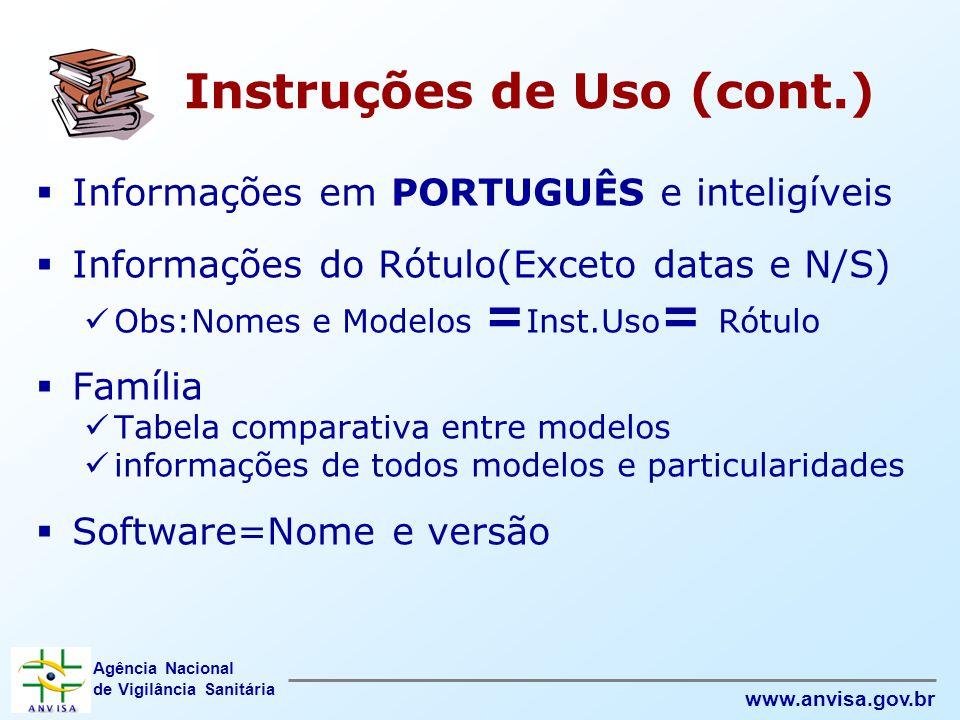 Instruções de Uso (cont.)