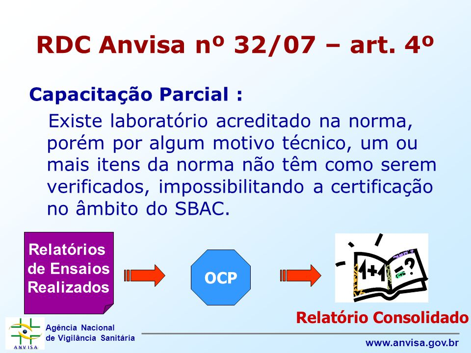 RDC Anvisa nº 32/07 – art. 4º Capacitação Parcial :