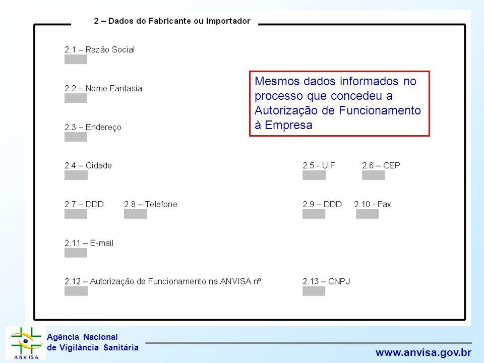 Mesmos dados informados no processo que concedeu a Autorização de Funcionamento à Empresa