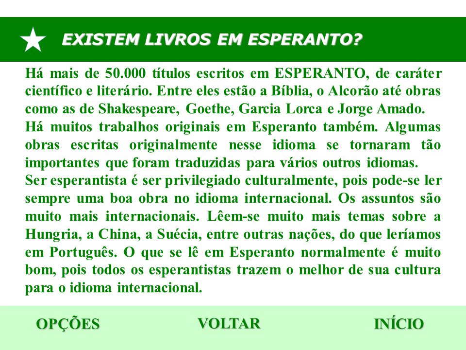 EXISTEM LIVROS EM ESPERANTO