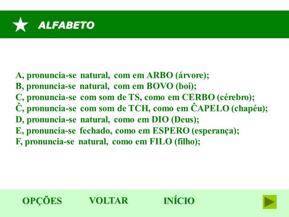 ALFABETO OPÇÕES VOLTAR INÍCIO