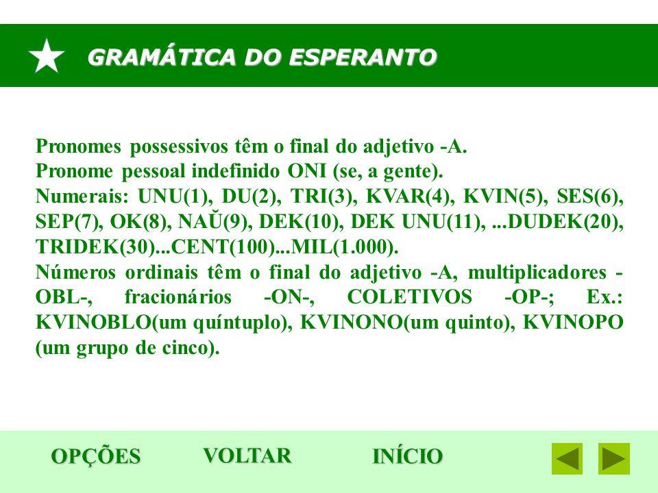 GRAMÁTICA DO ESPERANTO